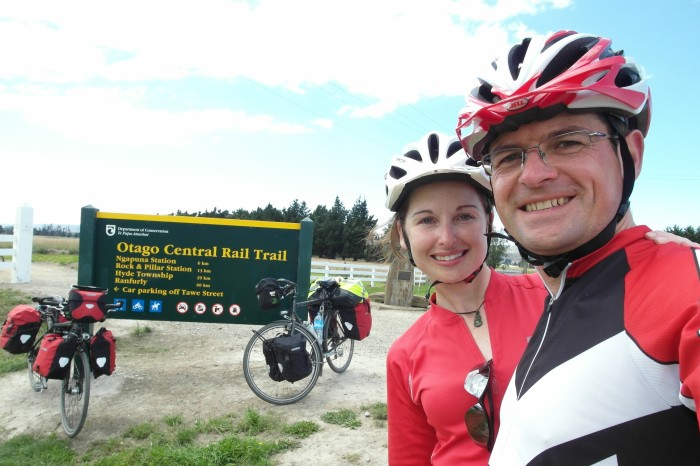 NZ 1 - Yeah! We finally finished the 150km Otago Central Rail Trail ... so happy to see bitumen again :)