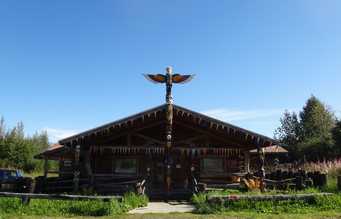 Day 1 - Cool totem pole and building on the way to Palmer