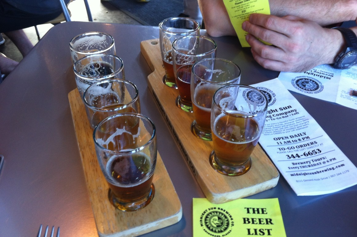 Beer sampling at the Midnight Sun Brewing Company