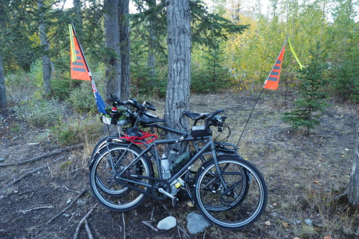 Day 2 - Our bikes locked up for the night!