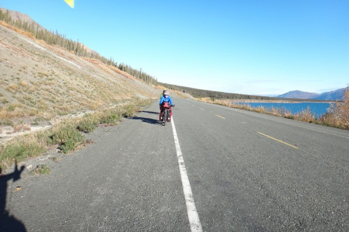 Canada 70 - Jo riding around Kluane Lake