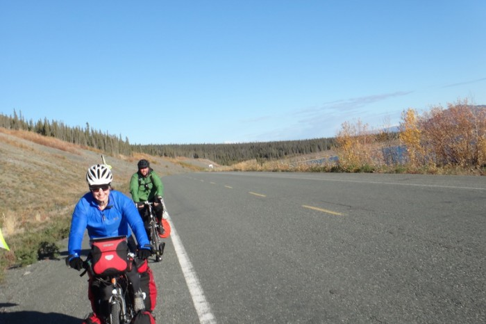 Canada 71 - Jo and Damian riding around Kluane Lake