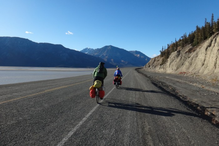 Canada 75 - Jo and Damian riding around Kluane Lake