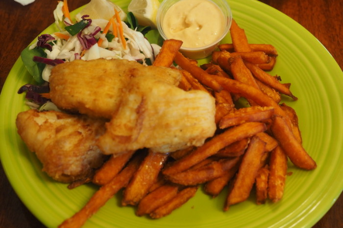 Portland to San Francisco - Fish and sweet potato fries, Barnacle Bistro