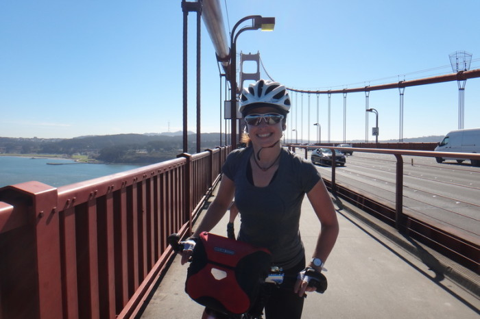 San Francisco - Jo cycling across the Golden Gate Bridge