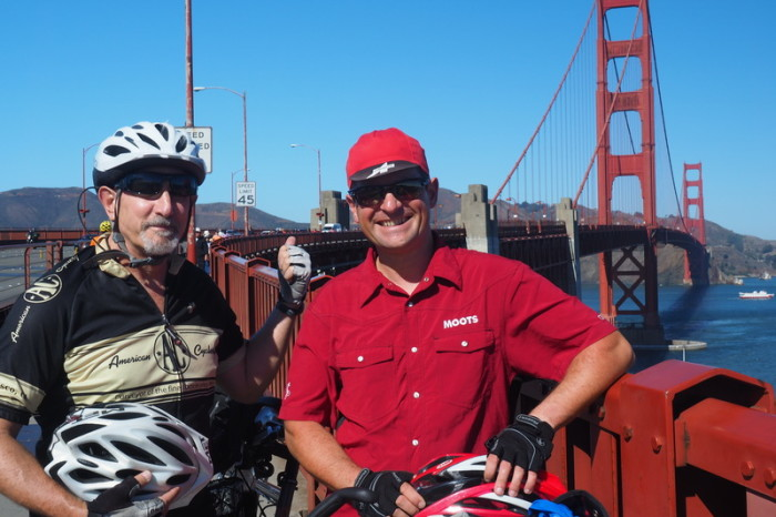 San Francisco - Mateo and David on our bike ride over the Golden Gate Bridge