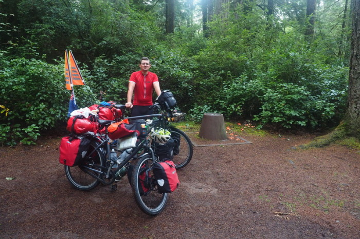 Portland to San Francisco - Our hike/bike campsite at Honeyman State Park, Oregon