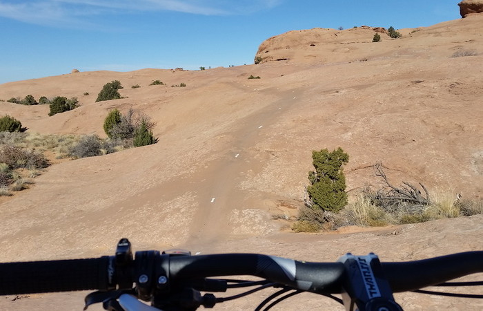 USA Road Trip - David riding Slickrock, Moab