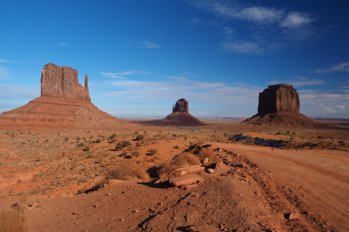 Views of West Mitten Butte, East Mitten Butte and Merrick Butte, Monument Valley
