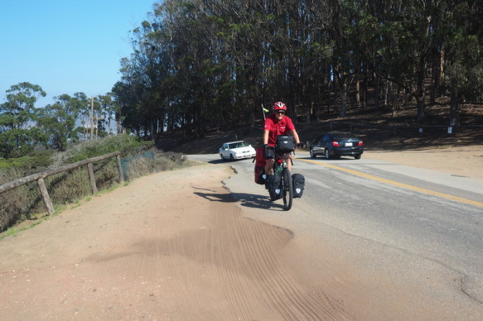 SF to LA - David reaching the top of Pecho Valley Road, Los Osos