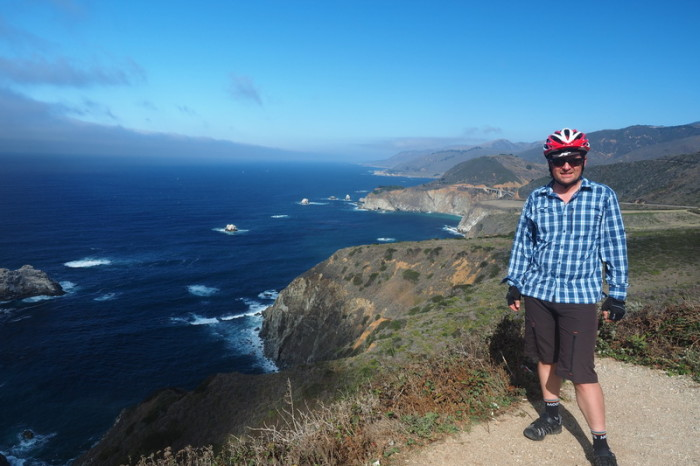 SF to LA - David at one of the lookouts in Big Sur