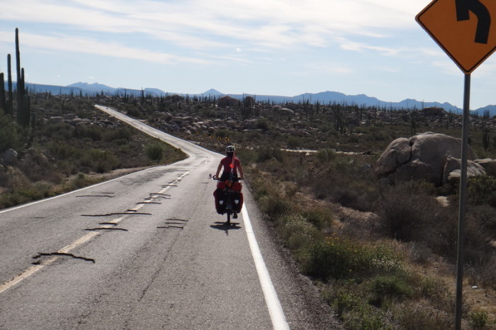 Baja California - David riding along Highway 1 on Day 2 of our Central Desert crossing