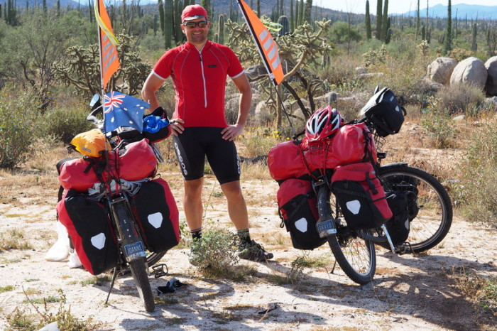 Baja California - David and our bikes on Day 2 of our Central Desert crossing