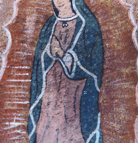 Baja California - Rock painting of the Lady of Guadalupe (Senora de Guadalupe)