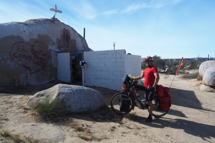 Baja California - David at a popular roadside shrine to the Lady of Guadalupe (Senora de Guadalupe)