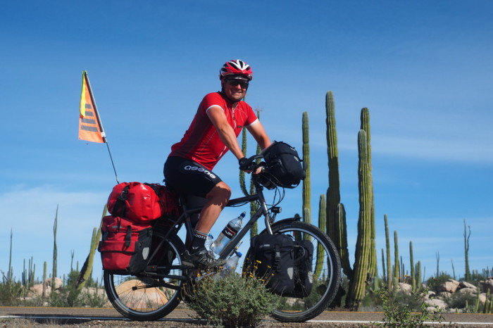 Baja California - David cycling through the Cataviña Boulder Field on Day 2 of our Central Desert crossing
