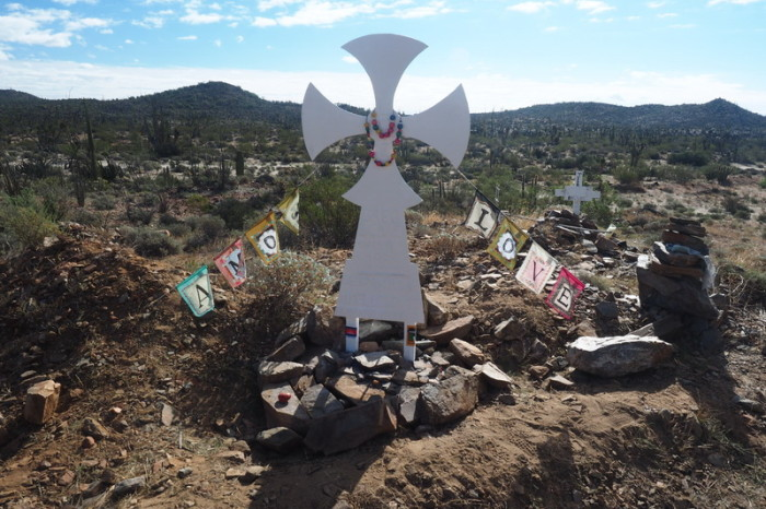 Baja California - More roadside memorials seen on Day 3 of our Central Desert crossing