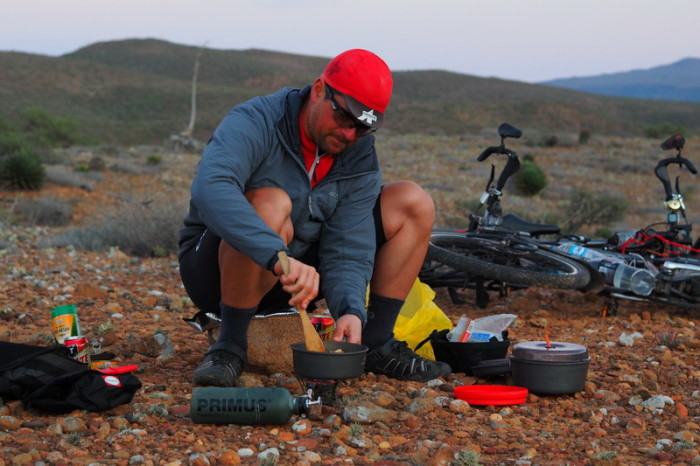 Baja California - David cooking dinner on Day 3 of our Central Desert crossing