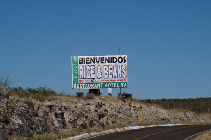 Baja California - David hates beans ... he was not excited to see this sign!