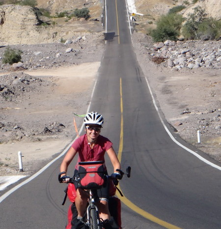 "Baja California - Jo cycling the awesome ""slope of hell"" to the coast near Santa Rosalia!"