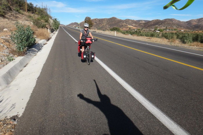 Baja California - Jo riding the downhill into the Guadalupe Valley