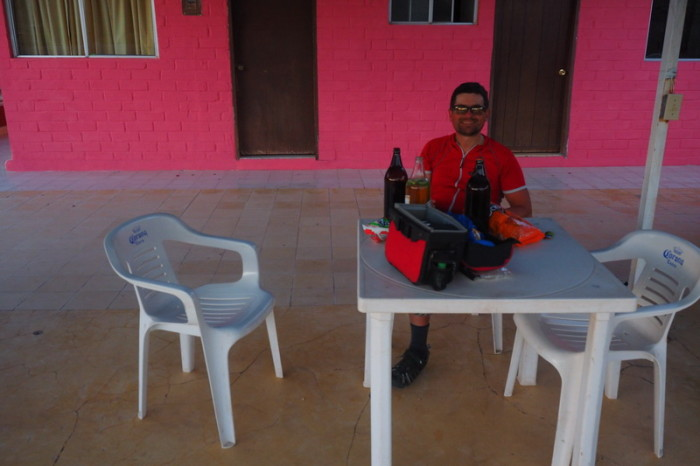 Baja California - David enjoying some well deserved beers and snacks at our hotel in Mulege!