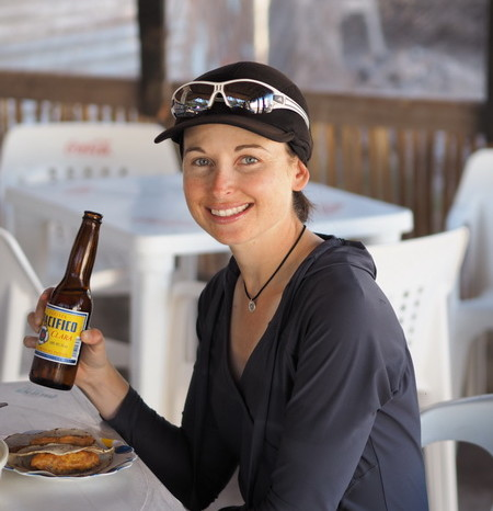 Baja California - Jo enjoying a cerveza and some fish tacos on our day off in Mulege