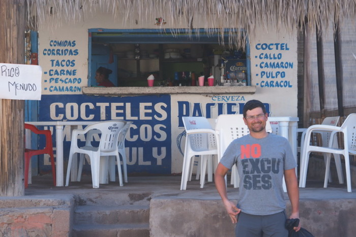 Baja California - David outside the taqueria, Mulege