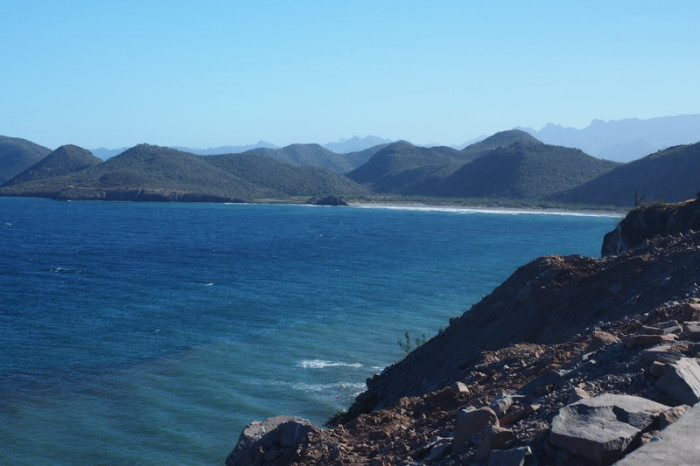 Baja California - View of Juncalito beach near Loreto where we wild camped for the night