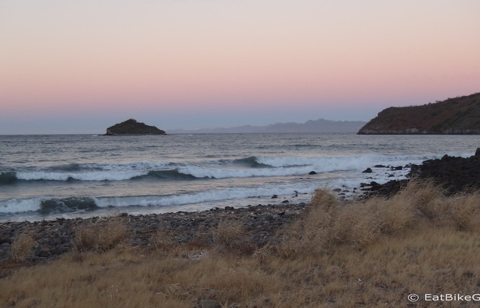 Baja California - Sunset at our campsite at Juncalito beach, near Loreto