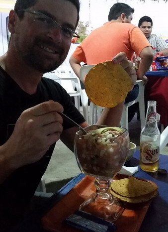 Baja California - David enjoying some Ceviche in Todos Santos