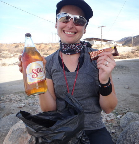 Baja California - Celebrating my birthday with cerveza (beer) and chocolate! The perfect end to a great day of riding!