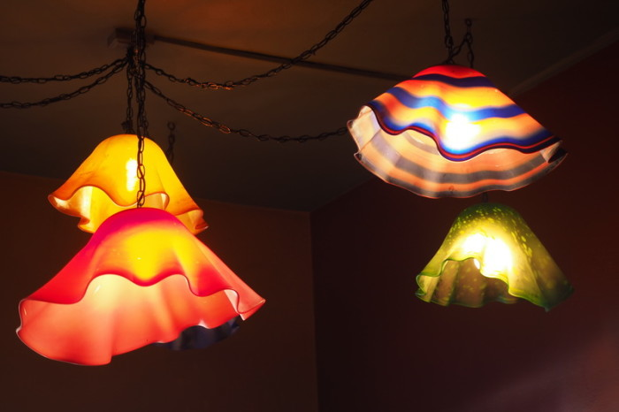 Baja California - Gorgeous glass light shades at Hotel California, Todos Santos