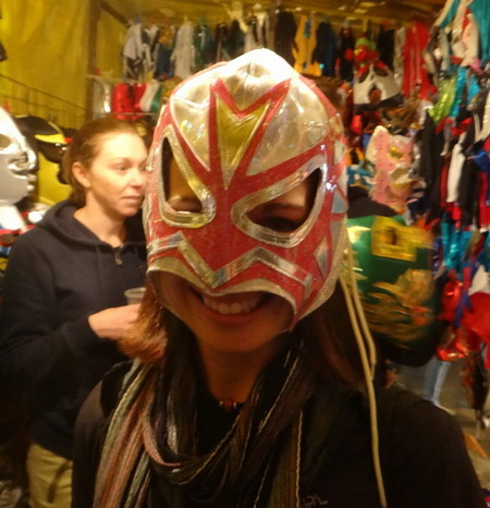 Mexico City 1 - Jo trying on one of the Lucha Libre masks!