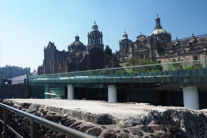 Mexico City - The ruins of the Aztec Templo Major, with views of the Catedral Metropolitana in the background.