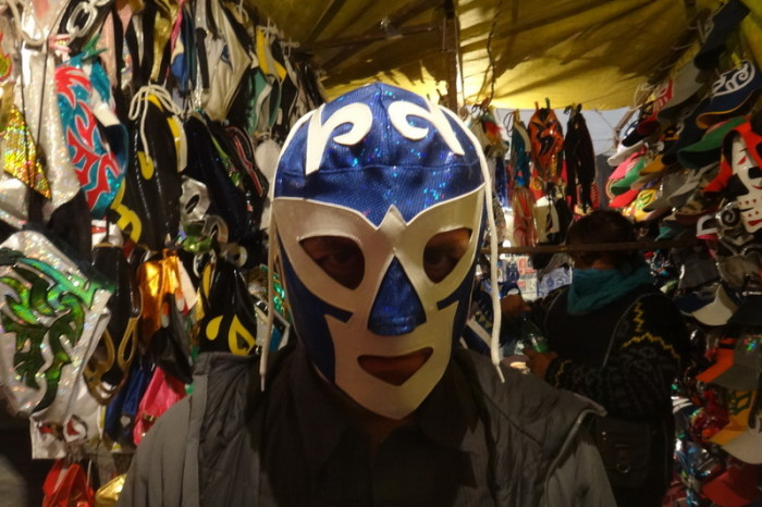 Mexico City 2 - David trying on one of the Lucha Libre masks!