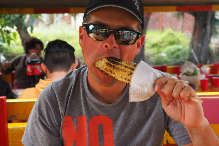 Mexico City - Enjoying some freshly roasted sweetcorn! — in Xochimilco