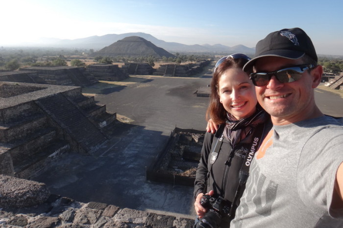 Mexico City 24 - We arrived at Teotihuacán before 8am and had the whole place to ourselves! Here we are at the Pyramid of the Moon with views of the Pyramid of the Sun