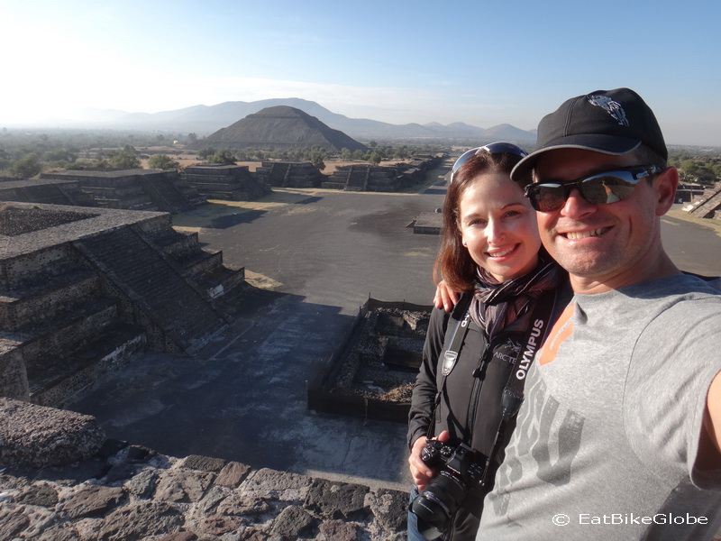 We arrived at Teotihuacán before 8am and had the whole place to ourselves! Here we are at the Pyramid of the Moon with views of the Pyramid of the Sun