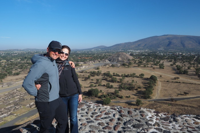 Mexico City - We arrived at Teotihuacán before 8am and had the whole place to ourselves! Here we are at the Pyramid of the Sun with views of the Pyramid of the Moon