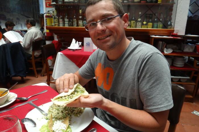 Mexico City 32 - David trying escamoles a la mantequilla (buttered ant larvae)! — at Hostería de Santo Domingo