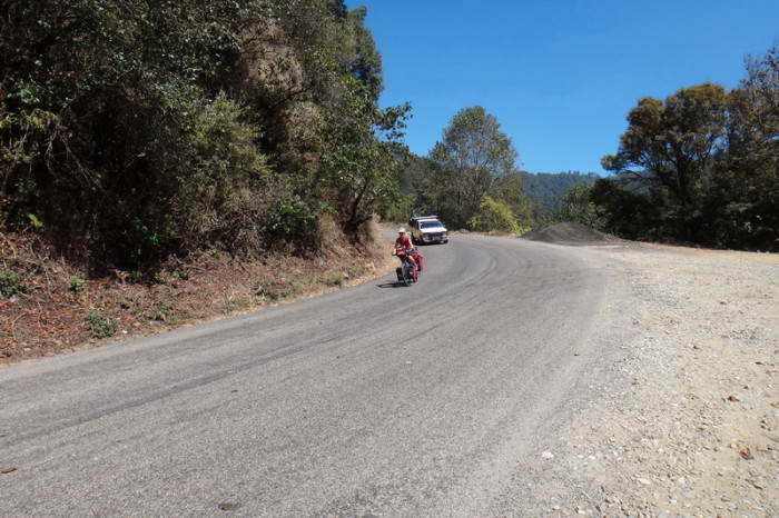 Oaxaca to PA 45 - Jo enjoying the downhill on the way to Puerto Angel