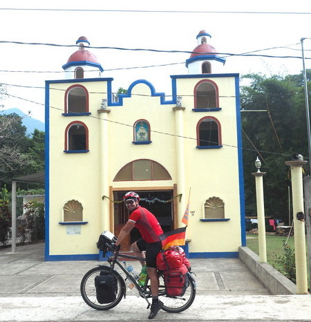 Oaxaca to PA - Cute, colourful church in one of the mountain villages on the road to Puerto Angel