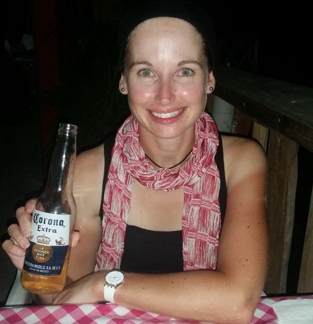 Oaxaca to PA 61 - Jo enjoying a Vitamin C after the ride!