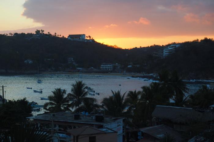 Oaxaca to PA - Sunset from our balcony at Hotel Soraya
