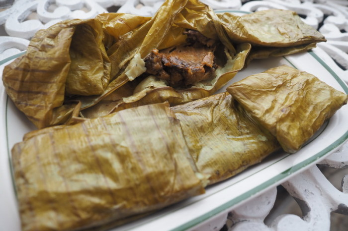 Oaxaca - Tamales, filled with chicken and black mole (a delicious chili based sauce with a hint of chocolate)!