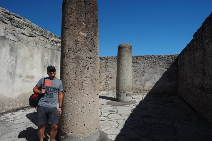 Day trip to the Valle de Tlacolula  - David and some of the ancient columns at the Mitla Ruins