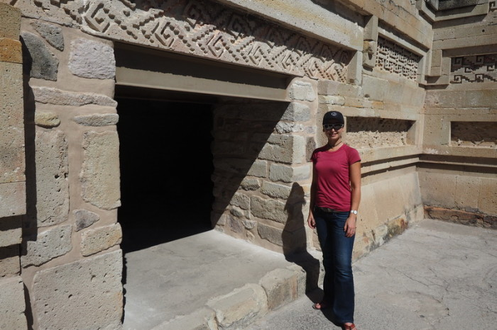 Day trip to the Valle de Tlacolula  - Some of the beautiful geometric stone mosaics decorating the ruins at Mitla