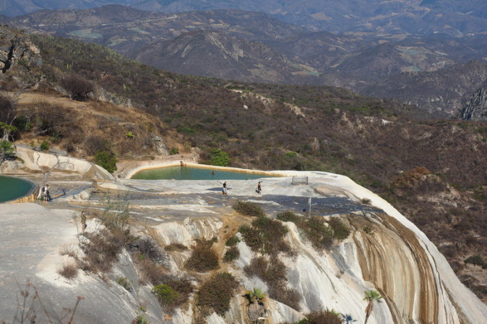 Day trip to the Valle de Tlacolula  - View of the cliff top pools at Hierve El Agua