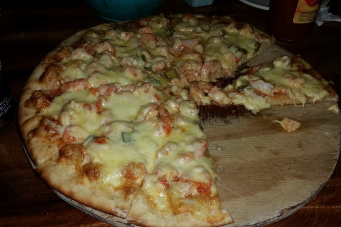 Oaxaca Coast - 25 - Our amazing prawn pizza at El Dragon Pizza Restaurant, Barra de la Cruz